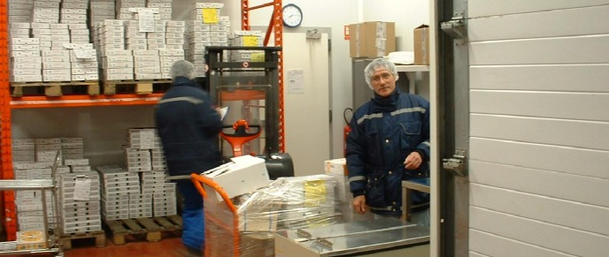 In the shipping room (Berthaut cheese factory)